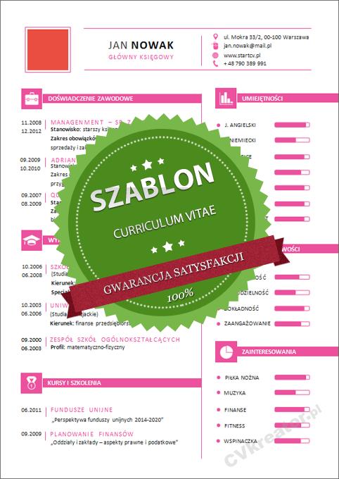 Kreatywny szablon dokumentów – 07 – pink