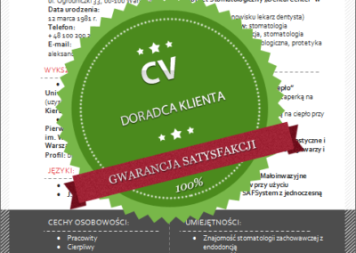 Wzór CV dla doradcy klienta