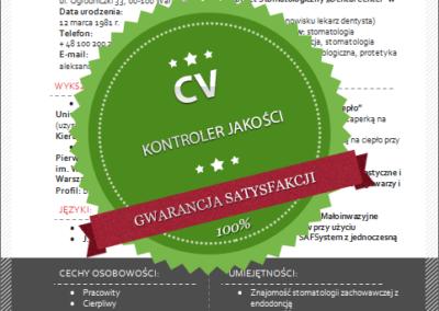 Wzór CV dla kontrolera jakości