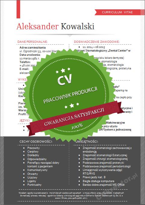 Wzor Cv Dla Pracownika Produkcji Cvkreator Pl