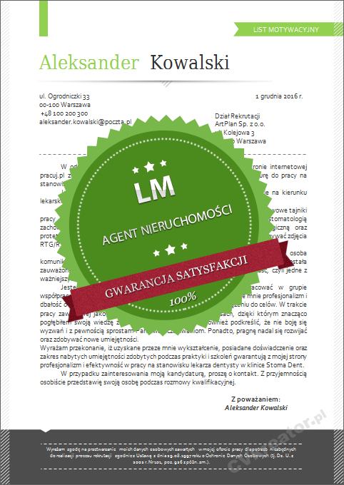 Wzór listu motywacyjnego dla agenta nieruchomości