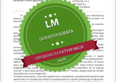 Wzór listu motywacyjnego dla doradcy klienta