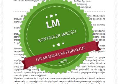 Wzór listu motywacyjnego dla kontrolera jakości
