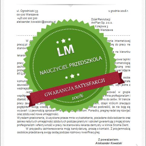 wzór listu motywacyjnego nauczyciel wychowania przedszkolnego
