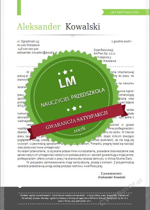 List Motywacyjny Na Stanowisko Nauczyciela