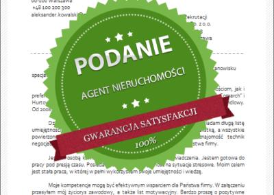 Wzór podania o pracę dla agenta nieruchomości
